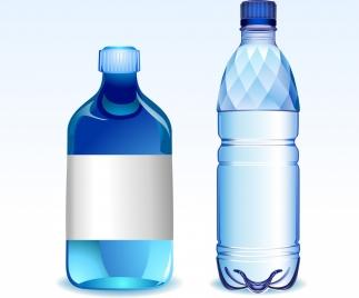 plastic water bottle icons shiny blue design