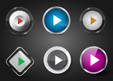 play button templates shiny colored geometric decor