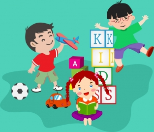 playful kids background colored cartoon design