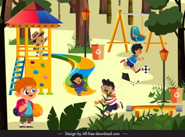 playground background colorful dynamic cartoon sketch