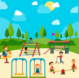 playground drawing children icons colored cartoon