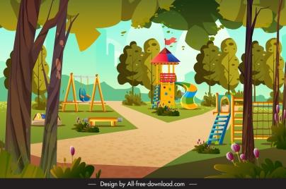 playground painting colorful cartoon sketch