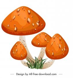 poisonous mushroom icon orange spotted decor
