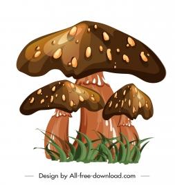 poisonous mushroom icon shiny brown design