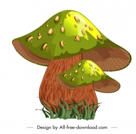 poisonous mushroom icon shiny green 3d sketch