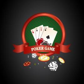 poker background 3d design red ribbon cards decoration