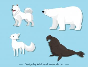 polar animals icons husky bear fox seal sketch