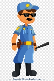police career icon cartoon character sketch