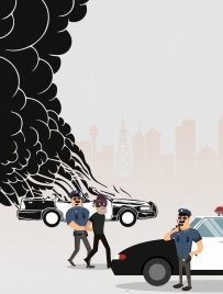 police catching criminal theme colored cartoon design