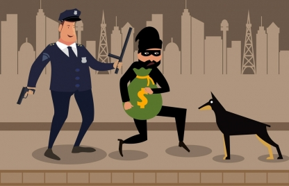 police catching thief drawing colored cartoon design