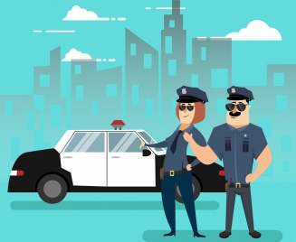 police officer icons colored cartoon design