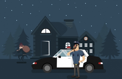 police patrol theme office thief icon colored cartoon
