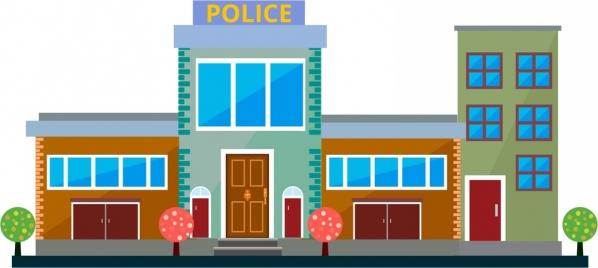 police station front design sketch in color style
