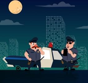 policeman icons colored cartoon design