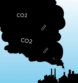 polluted environment banner black smoke plant silhouette ornament