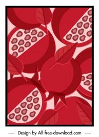 pomegranate background colored classical flat closeup sketch