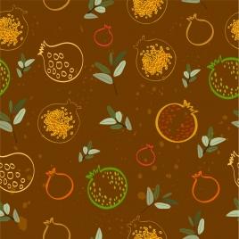 pomegranate background flat dark design repeating sketch