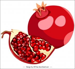 pomegranate fruit icon red classic design slice sketch
