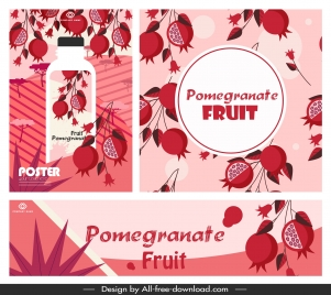 pomegranate juice advertising banners classical red decor