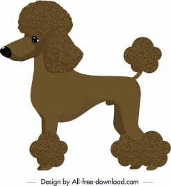 poodle dog icon brown design cartoon character
