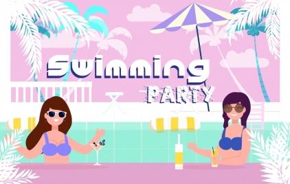 pool party banner bikini girls icons colored cartoon