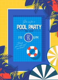 pool party banner flat decor leaves umbrella icons