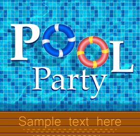 pool party banner water text buoy icons decor