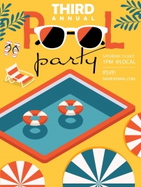 pool party poster multicolored 3d decor