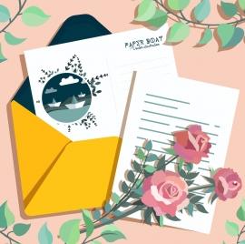 postcard background boat theme flowers envelope paper decor