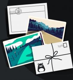 postcard background envelope landscape pictures icons