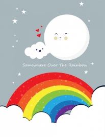 postcard background stylized cloud moon colorful rainbow icons