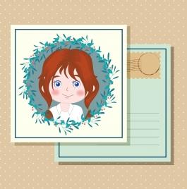 postcard template cute girl icon classical design