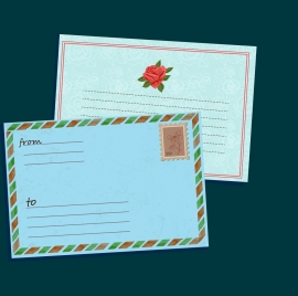 postcard template envelope icon red rose decoration