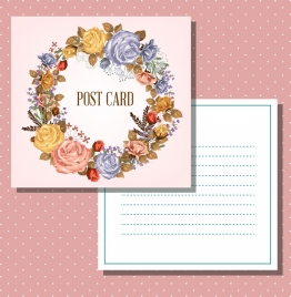 postcard template flower wreath decoration classical design