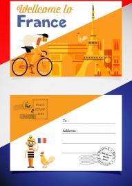 postcard template france design elements decor