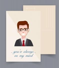 postcard template man avatar italic texts decor