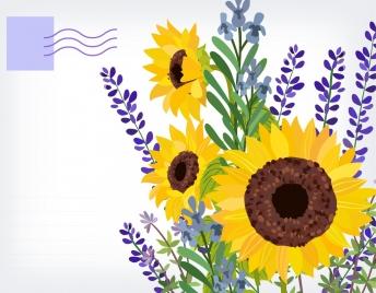 postcard template sunflowers icon multicolored classical design