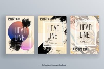 poster templates colorful blurred grunge decor