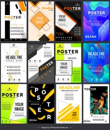 poster templates colorful modern decor vertical standee shape