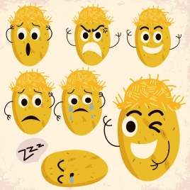 potato icon yellow stylized design various emotion