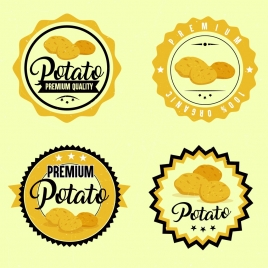 potato label template yellow circle design