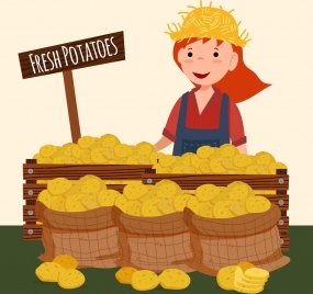 potato sale drawing female seller display icons