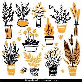 potted houseplant icons flat classical handdrawn outline