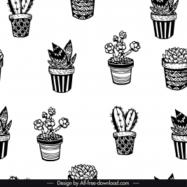 potted plants pattern black white vintage handdrawn sketch