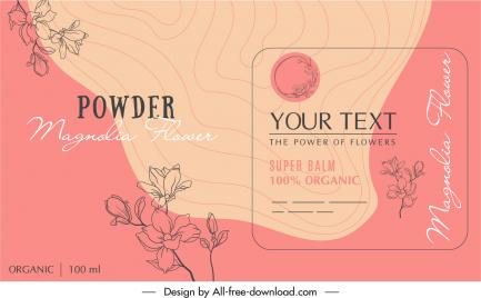 powder label template elegant handdrawn classic floral decor