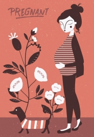 pregnant woman drawing flowers decoration classical design