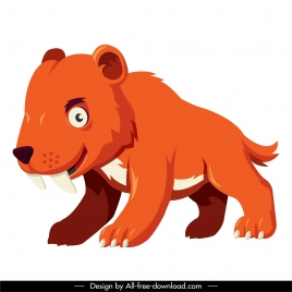 prehistoric bear icon colored cartoon character sketch