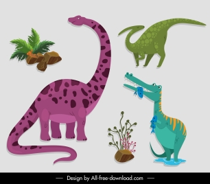 prehistoric design elements dinosaurs plants sketch