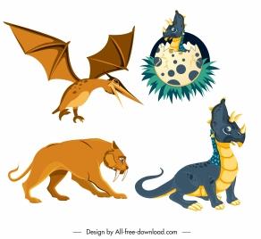 prehistoric species animals icons dragon pteranodon smilodon sketch