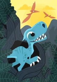 prehistory drawing dinosaur icons multicolored cartoon design